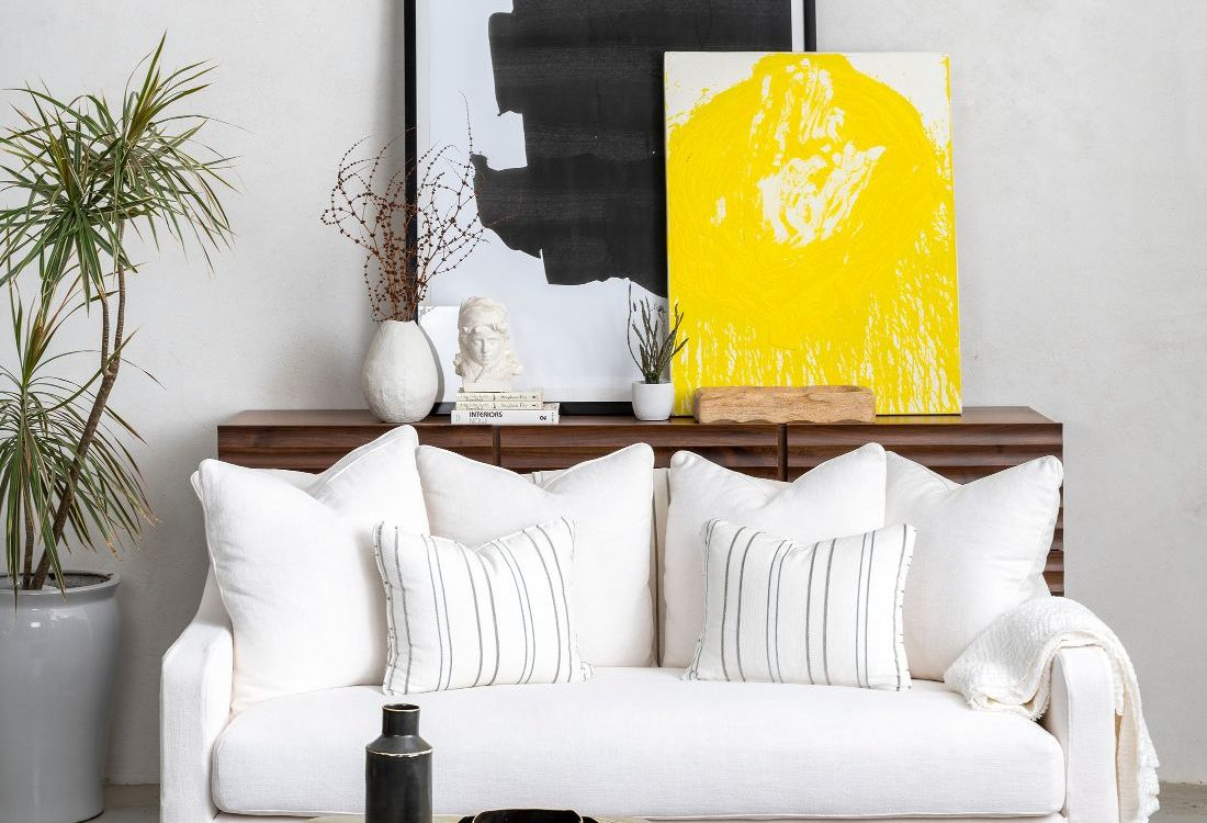 ספה רביצה יוקרתית מעוצבת בצבע לבן